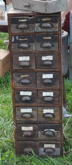 love the antique filing cabinets!