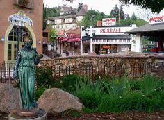 Several identical statues, each painted differently, were placed in various locations throughout Manitou Springs. Perhaps an art school project. Manitou Springs Incline, Manitou Springs Colorado, Colorado River, June Cleaver, Visit Colorado, Colorado Homes, Castle Rock, Post Office, Cliff House Hotel