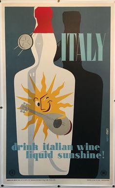 ITALY DRINK ITALIAN WINE SUNSHINE affiche originale de 1955 par Martelli Italian Wine, Coca Cola, Sunshine, Alcohol, Italy, Artist, Printer, German, Happiness