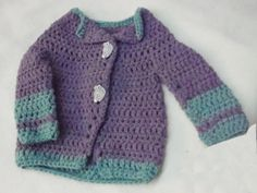 CROCHETED BABY SWEATER and matching Hat, Purple with green accent on sleeves, bottom, and around neckline,Baby Girl Sweater,Two-Tone Sweater by grammastreasure. Explore more products on http://grammastreasure.etsy.com