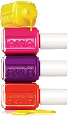 essie neon nail polish Yellow, Pink, Purple Red - these colors just scream south beach to me :) Neon Nail Colors, Neon Nail Polish, Essie Nail Colors, Neon Nails, Nail Polish Colors, Love Nails, How To Do Nails, Pretty Nails, My Nails