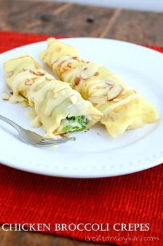 Loaded with tender chicken, broccoli, and creamy cheese sauce, these Chicken Crepes make a delicious meal!