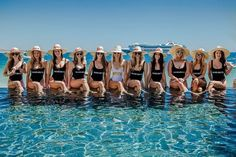 SQUAD 🌴 Will you be rocking the classic black & white swimsuit idea on your hen? 📸 Disney Bachelorette Parties, Black And White Swimsuit, Black White, Bridal Squad, The Perfect Girl, Water Party, Girls Getaway, Team Bride, Sashimi