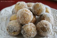 ~S~ Cinnamon Puff Balls ~ 3 Tb golden flax meal - 2 Tb almond flour - 1 Tb coconut flour - 1/2 tsp baking powder - 2 eggs - 3 tbsp water - 2 tbsp mild flavored oil - 1 1/2 tsp vanilla extract - 1/3 cup sugar THM sweetner - 1 Tb cinnamon - ~ Coating:~ 2 Tb ghee or coconut oil - 2 TB granulated THM sweetner - 1 tsp cinnamon