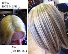 Over-processed blonde correction using Redken.