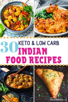 These 30 Low-carb & Keto Indian Food Recipes are everything you might crave at an Indian restaurant. Includes curries, samosas, low-carb naan & even dessert! Perfect for those who want to make Indian food at home. Healthy Low Carb Recipes, Low Carb Dinner Recipes, Low Carb Keto, Vegetarian Recipes, Low Carb Curry, Lentil Recipes, Spinach Recipes, Breakfast Recipes, Samosas