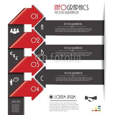 Vector: Modern arrows for Infographics template with letters and numbers