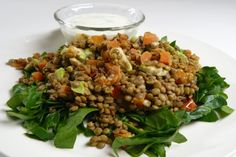 warm lentil, avocado and lime salad