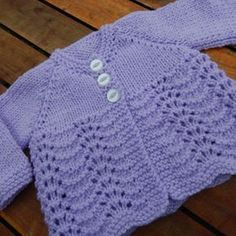 pretty hand knitted baby matinee jacket/ cardigan/ sweater lilac month from Icklepickleknitwear on Etsy. Baby Cardigan Knitting Pattern Free, Kids Knitting Patterns, Crochet Baby Cardigan, Knit Baby Dress, Knit Baby Sweaters, Knitted Baby Clothes, Sweater Knitting Patterns, Baby Patterns, Hand Knitting