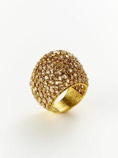 COGNAC DIAMOND & GOLD DOME RING