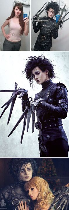 Omg, she has so much skill! Look at that Edward Scissorhands make over.
