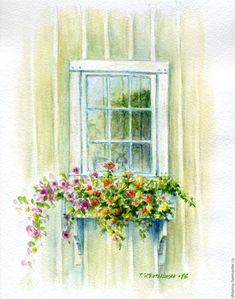 """Купить Акварель""""Дом, где всегда лето!"""" - белый, желтый, зеленый, розовый, оранжевый, голубой"""