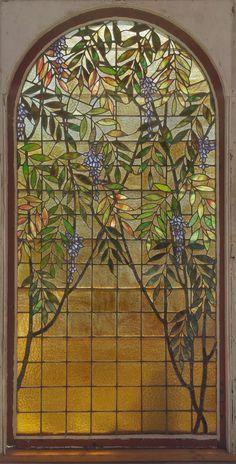 Antique American Wisteria Stained Glass Landing Window from Cincinnati, circa…