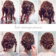 braided updo - curly & wavy hair - casual boho bridal beach