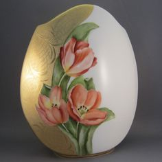Tulip Vase with False Gold Etching Description: This nice shaped vase is painted with tulips and finished with my way of gold etching in my seminar. Painted by Wilma Manhardt of Puna Gorda, FL