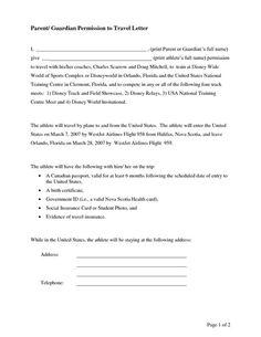 Parental consent permission letter Travel