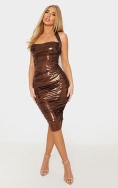 The Copper Metallic Ruched Halterneck Bodycon Dress. Head online and shop this season's range of dresses at PrettyLittleThing. Prom Dresses Long With Sleeves, Pink Prom Dresses, Party Dresses For Women, Sexy Dresses, Tulip Dress, Satin Midi Dress, Blue Midi Dress, Bodycon Dress, Metallic Party Dresses