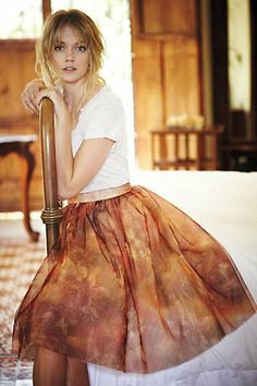 Amalia Tulle Skirt - anthropologie - Flouncy and oh-so-femme, this tulle skirt from Seen, Worn, Kept has us smitten; for an artful high-low look, try pairing it with a slouchy tucked-in tee. Silk Skirt, Dress Skirt, Dress Up, Zara, Rocker, Camila, Tie Dye Skirt, Boho Chic, Modern Bohemian