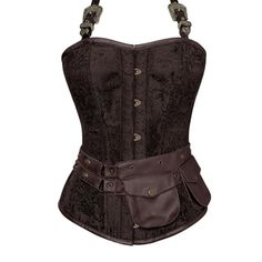 Brown Corset with Strap and Leather Pouch Detail