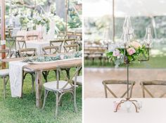 Rustic, elegant and chic tented wedding reception with candelabras, custom table runners, farmtables garland table runners and X back wood chairs.