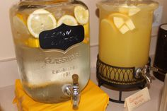 You Are My Sunshine Baby Shower lemon water and sunshine pineapple punch jugs