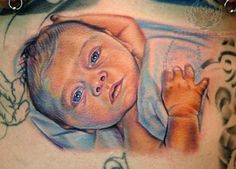 Baby Portrait  Colored Tattoo