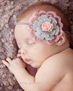 Gray and dusty pink headband, felt flower headband, vintage headband, newborn headband, baby girl headband, baby headband, Infant headband on Etsy, $11.95