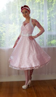 1950's Rockabilly 'Anneliese' Pink Taffeta Wedding Dress with Lace Overlay, Bow Belt, Tea Length Skirt and Petticoat - Custom Made to Fit