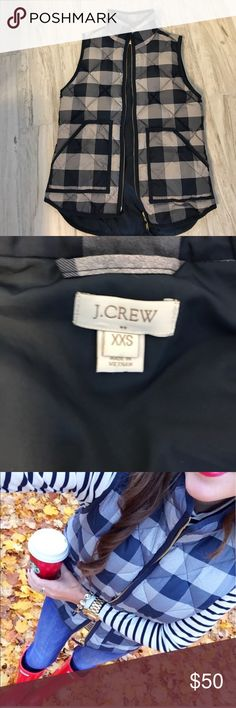 Jcrew vest xxs buffalo check navy blue grey Great condition, very trendy. J crew factory store J. Crew Jackets & Coats Vests