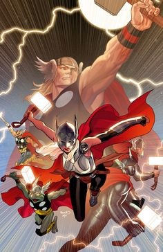 Here's my exclusive variant cover for Secret Wars for MIDTOWN COMICS I love drawing the new Thor. I never get tired of her. Pre-order here: bit. Marvel Universe, Marvel E Dc, Marvel Heroes, Marvel Characters, Fictional Characters, Arte Dc Comics, Marvel Comics Art, Comic Books Art, Comic Art