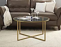"""WE Furniture 36"""" Coffee Table with X-Base - Glass/Gold"""