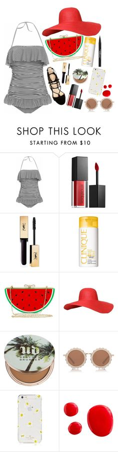 """ruffled beach babe "" by disneyenfrancais ❤ liked on Polyvore featuring Marc Fisher, Smashbox, Clinique, Jessica McClintock, Urban Decay, House of Holland, Kate Spade, Trish McEvoy and ruffledswimwear"