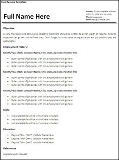 Basic Resume Outline Sample  HttpWwwResumecareerInfoBasic