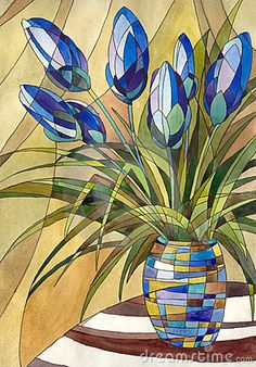 Decorative painting. Abstract flowers in a vase with geometric pattern