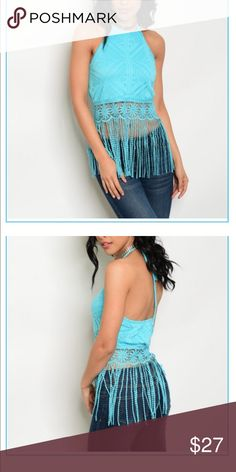 💘Just in💘 Fringe bottom lace halter top😍😍😍 Turquoise lace halter top with fringe bottom. 90% nylon 10% spandex. I'm modeling a small, great fit!!! A summer must have!! Tops Crop Tops