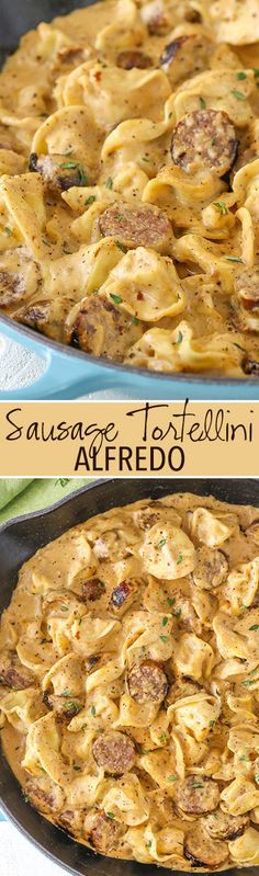 Sausage Tortellini Alfredo is pure comfort food! Alfredo flavored with sausage & mixed with tortellini - it's a favorite pasta dinner recipe of ours! Tortellini Alfredo, Sausage Tortellini, Italian Sausage Pasta, Tortellini Ideas, Italian Sausage Casserole, Ground Italian Sausage Recipes, Creamy Sausage Pasta, Sausage Pasta Bake, Gratin