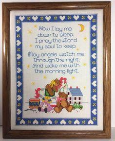 Cross Stitch Completed Finished Childs Nursery Prayer Now I Lay Me Down To Sleep  | eBay #crossstitch #decor #nursery #baby