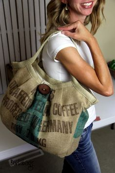 Carry-All/Diaper Bag made from Recycled Coffee Sack Bags. $120.00, via Etsy.