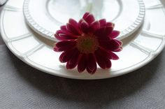 White plates with carving. Pink gerbera