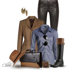 Cognac and Black Boot by chloe-813 on Polyvore featuring NIC+ZOE, Ralph Lauren, Gucci, Bandolino, Marni, Spring Street, River Island and Lucky Brand