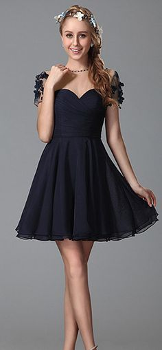 Flattering Short Floral Sleeves Party Dress
