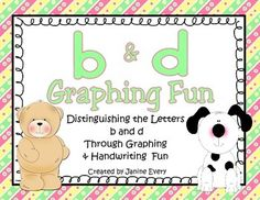 Handwriting Reversals - Seeing b & d handwriting reversals?  This resource includes activities designed to help correct those b and d reversals that are so common in our little learners.  The activities will help your students to distinguish between the letters b and d, while incorporating some graphing and handwriting fun at the same time. #handwriting