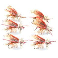 Kaufmann's Orange Crystal Stimulator Rubber Legs Dry Fly - Set of 6 Fly Fishing Flies