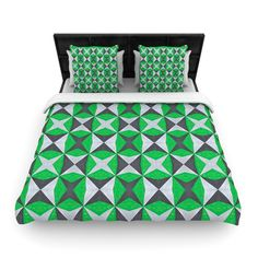 Silver and Green Abstract Woven Comforter Duvet Cover