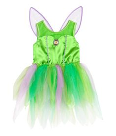 Satin fairy costume with a jersey back section. Glittery tulle wings at back with reinforced edges, elasticized seam at waist, and multicolored petal skirt in glittery tulle.