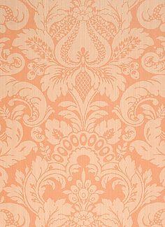 Scalamandre Daphne damask wallpaper, canteloupe