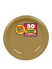 Gold Plastic Dessert Plates 7in 50ct-Paper, Plastic Plates-Solid Color Tableware-Party City
