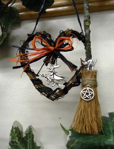 Samhain Halloween heart with Witch Cat Pentacle & Besom.