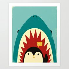 """Buy the Amanti Art N/A Direct. Shop for the Amanti Art N/A 27 Inch x 23 Inch """"Hi! (Penguin)"""" Framed Art Print on Paper by Jay Fleck and save. X 23, Painting Frames, Painting Prints, Art Encadrée, Canvas Art, Canvas Prints, Canvas Size, Canvas Paintings, Personalised Canvas"""