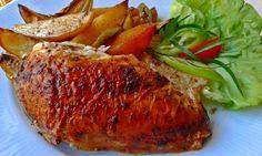 Vajas csirke egészben sütve Pork, Turkey, Meat, Kale Stir Fry, Turkey Country, Pork Chops